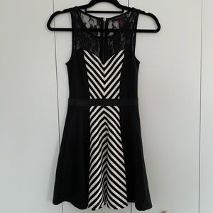 B&W Striped Short Dress *Business Casual*